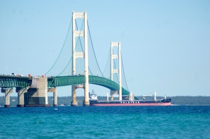 Mackinac Bridge Freighter